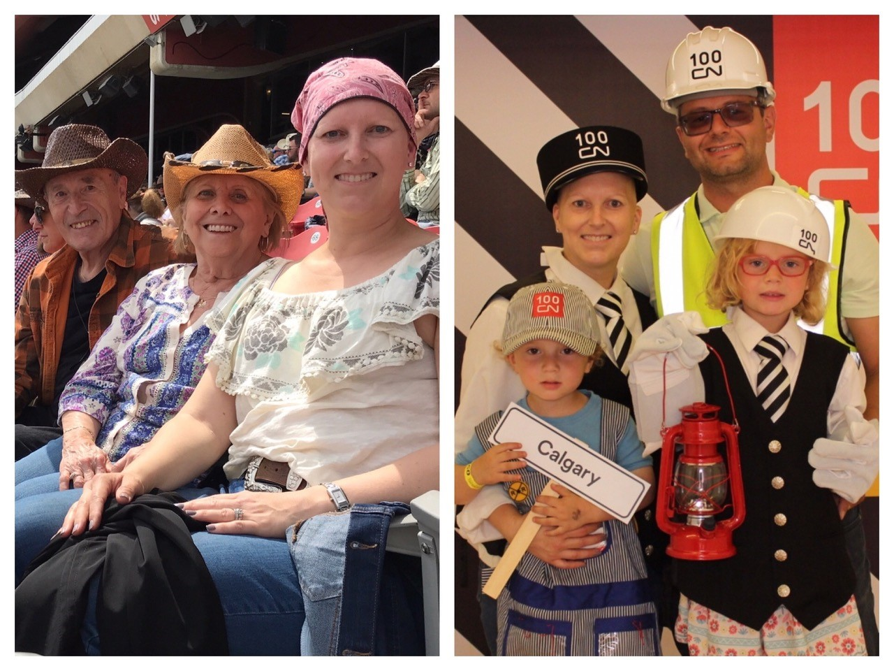 Natalie and her family at the Calgary Stampede. Calgary mom with breast cancer.