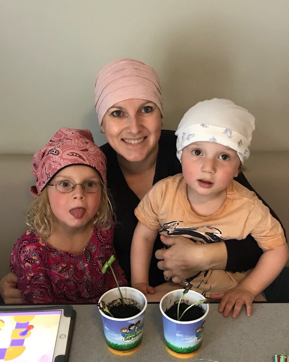 Natalie and her children. Calgary mom with breast cancer.